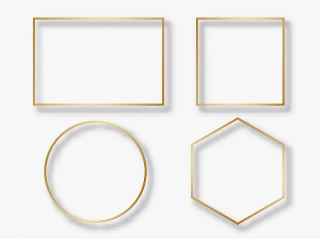 Círculo dourado e moldura quadrada