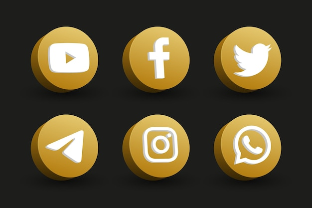 Círculo dourado isolado, vista em perspectiva, coleção de ícones de logotipo de mídia social em preto