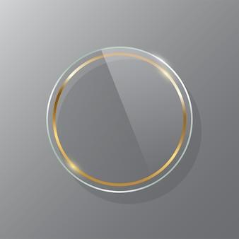 Círculo dourado moldura de vidro maquete realista luxuoso espelho de maquiagem isolado em fundo transparente Vetor Premium