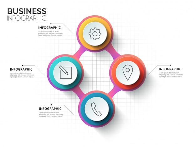 Círculo elegante história mindmap negócios infográficos modelo. coleção de conceitos de fundo infográfico web site.