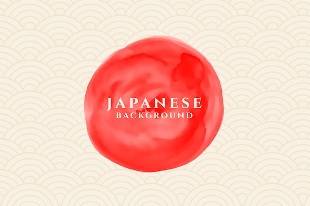 Círculo em aquarela com fundo japonês