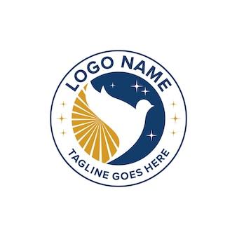 Círculo emblema pássaro com sol e estrelas noite simples e elegante criativo geométrico moderno design de logotipo