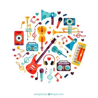 Círculo feito de instrumentos de música