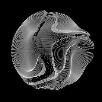 Círculo feito de linhas onduladas