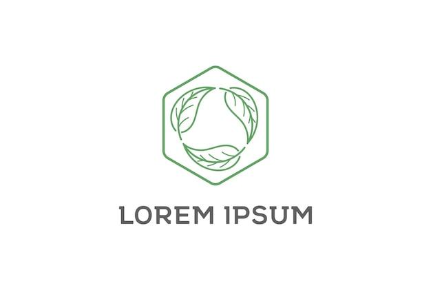 Círculo folha folhas reciclagem ambiente logo design vector