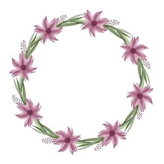 Círculo frsme com flor roxa e borda de folha verde para cartão de casamento
