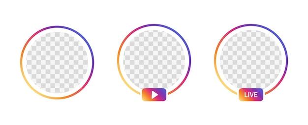 Círculo gradiente de perfil de quadro ao vivo do instagram para streaming ao vivo de mídia social