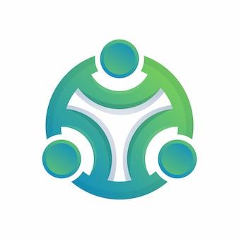 Círculo humano logotipo abstrato colorido
