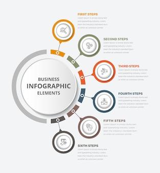 Círculo infografia infografia 6 elemento com círculo central diagrama gráfico gráfico com ícones