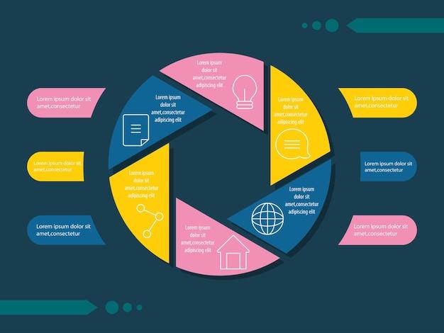 Círculo infográfico e design de modelo de estilo abstrato