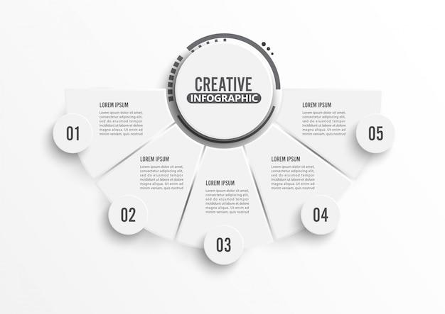 Círculo infográfico modelo cinco opção