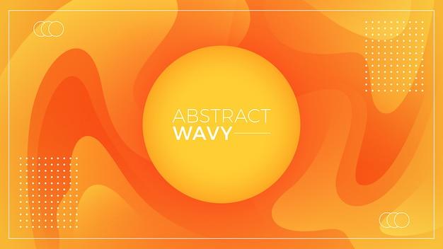 Círculo laranja ondulado abstrato
