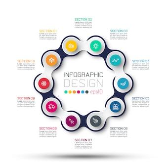 Círculo ligado a infográficos de negócios