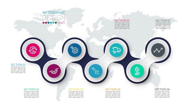 Círculo ligado com infográficos de ícone de negócios no mapa do mundo
