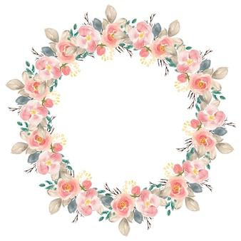 Círculo lindo aquarela de flor