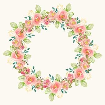 Círculo lindo aquarela floral