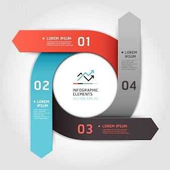 Círculo moderno seta passo opções. layout de fluxo de trabalho, diagrama, opções numéricas, web design, infográficos.