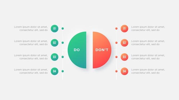 Círculo o que fazer e não fazer pró e contras vs versus modelo de design de infográfico de comparação