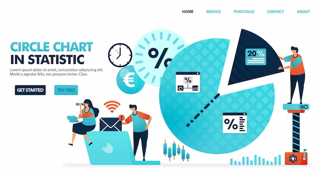 Círculo ou gráfico de pizza para estatísticas, análises, planejamento e estratégia de marketing.
