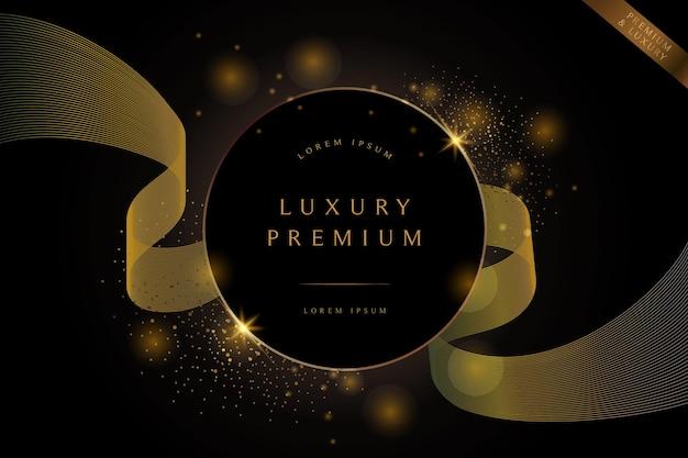 Círculo preto abstrato com moldura de luxo de borda redonda dourada