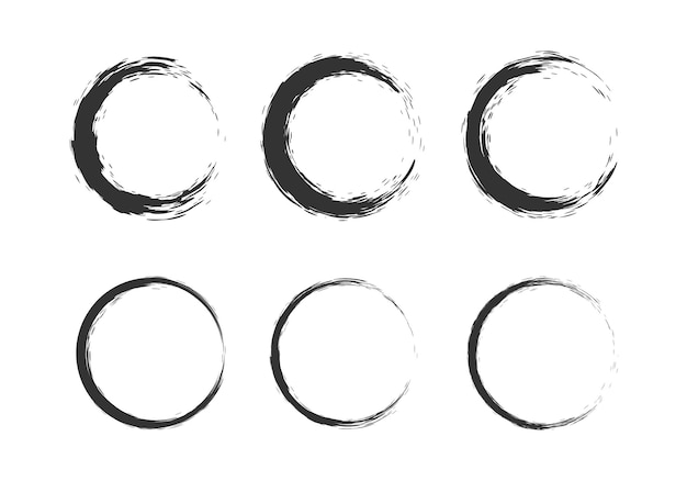 Círculo preto pincelada elemento pincel ornamento