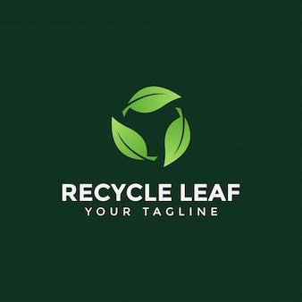 Círculo reciclar folha logotipo design modelo ilustração