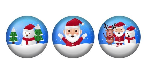 Círculo redondo esfera com ilustração papai noel para feliz natal e feliz ano novo