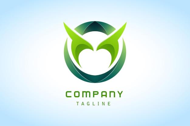 Círculo verde abstrato com logotipo gradiente de chifre corporativo