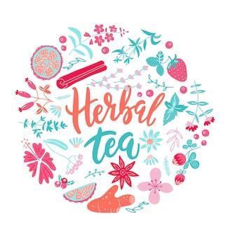 Círculo verde saudável com plantas. esboço redondo desenhado de mão lettering chá de ervas com limão e morango