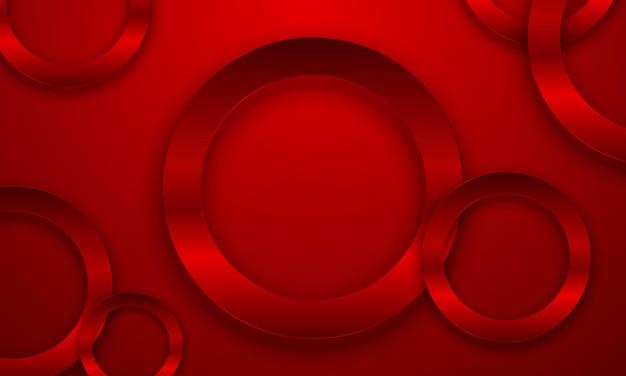 Círculo vermelho metálico luxuoso com sombra. projete para um anúncio de negócios de aniversário.