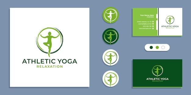 Círculo zen, logotipo de pessoas de ioga atlética e modelo de design de cartão de visita