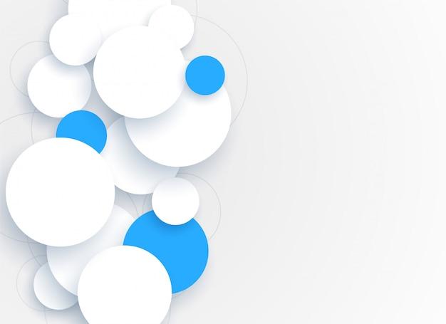 Círculos 3d abstratos fundo branco e azul
