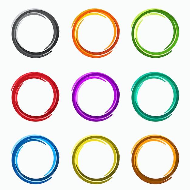 Círculos abstratos de cor, elementos de loops