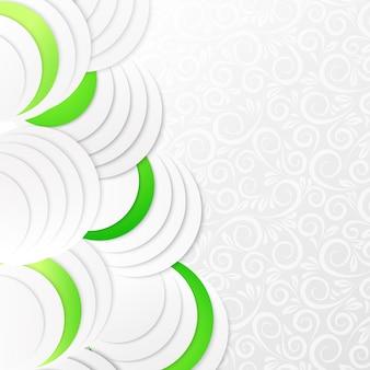 Círculos abstratos de papel verde
