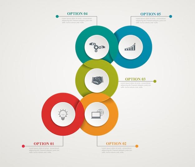 Círculos abstratos peças infográfico com estrutura passo a passo. diagramas de modelos, apresentação e gráfico