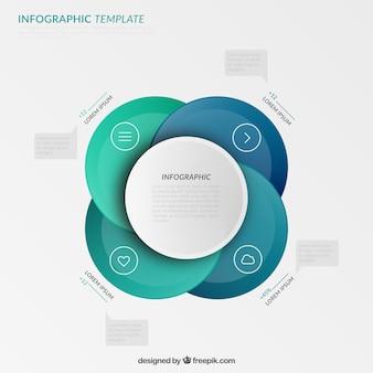 Círculos azuis infográfico