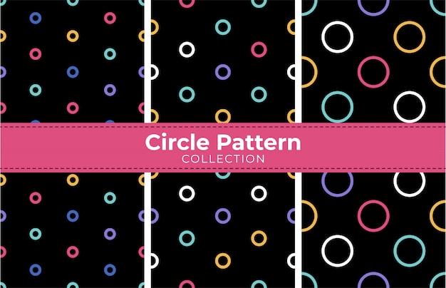 Círculos coloridos na coleção padrão preto sem costura