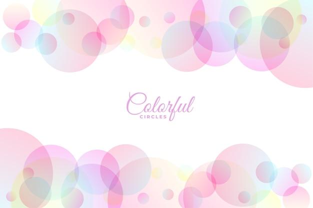 Círculos coloridos pastel em design de fundo branco