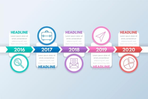 Círculos com imagens e infográfico de cronograma de caixas de texto