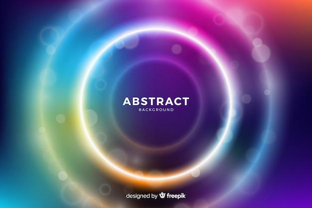 Círculos com luz colorida cercada por círculos menores