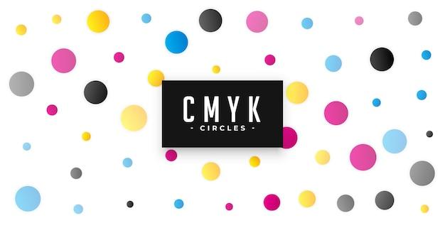 Círculos com padrão de fundo com cores cmyk