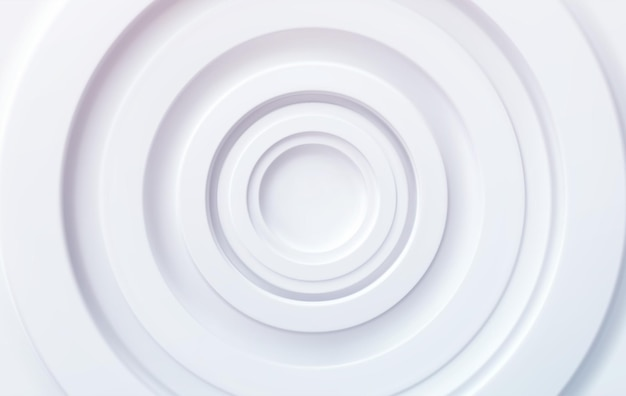 Círculos concêntricos volumétricos brancos