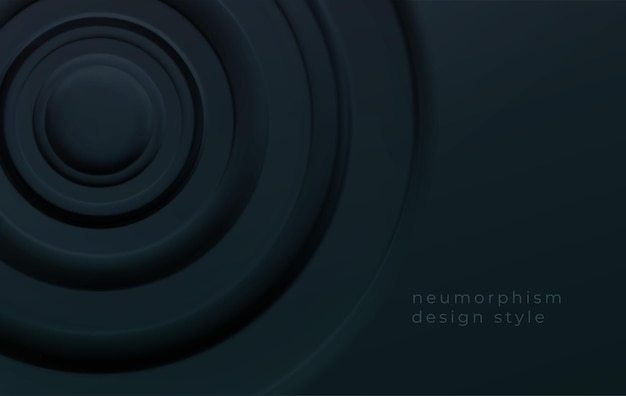 Círculos concêntricos volumétricos pretos