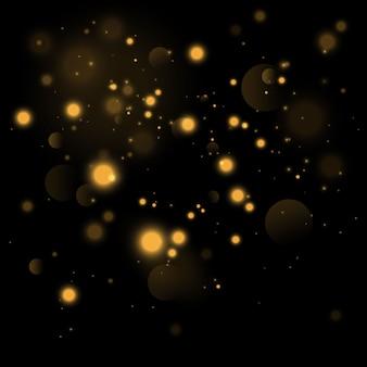 Círculos de bokeh amarelo brilhante, poeira dourada cintilante, decoração luxuosa de fundo dourado