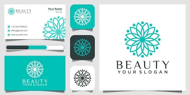 Círculos de design de logotipo de aulas de ioga feitos com folhas e flores com linhas simples