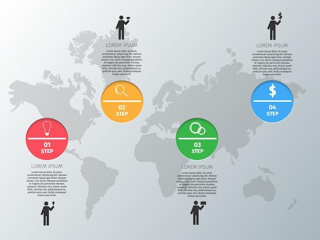 Círculos de design de vetor infográficos sobre o fundo cinza.