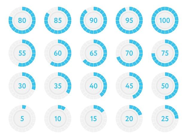 Círculos de diagramas de progresso de infográfico de porcentagem. gráficos de pizza de porcentagem azul. ilustração vetorial