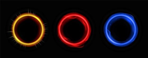 Círculos de energia com modelo de cores neon. moldura de banner redondo com flashes de raios elétricos e ensolarados