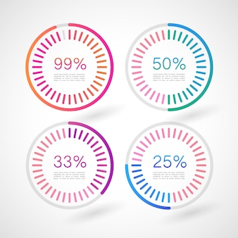 Círculos de infographic com percentagens
