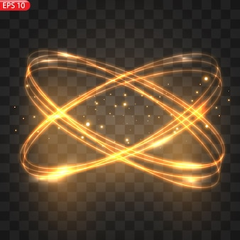 Círculos de luz ardente, efeito de brilho e glitter dourado, círculos de fogo cintilantes, redemoinhos mágicos e energia da luz